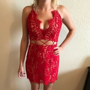 Red Lace Detail Bodycon Dress